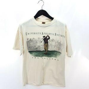 UNIVERSITY ATHLETIC SOCIETY M Medium Beige T-shirt